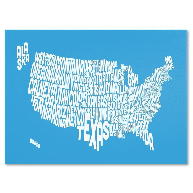 16 in. x 24 in. USA States Text Map - Azul Canvas Art