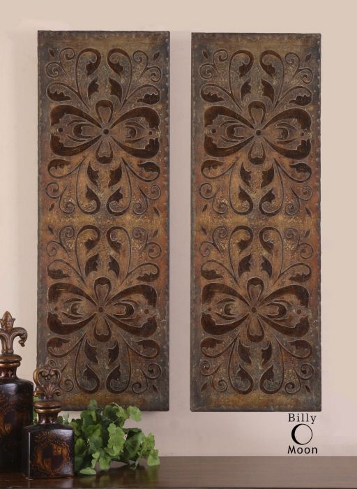Antiqued rust brown wall panels with burnished distressing & gold highlights.
