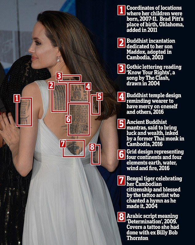 b48d02d567196 Angelina Jolie shows off her extensive tattoo collection in backless cream  gown at Dumbo premiere | Daily Mail Online