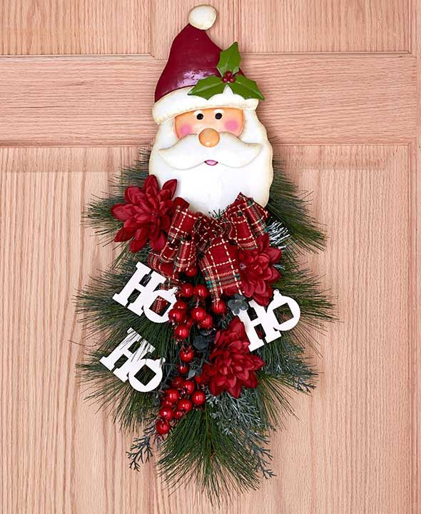 "24"" Large Festive Christmas Holiday Swag Door Decor Winter Wreath Spray Santa or Snowman"