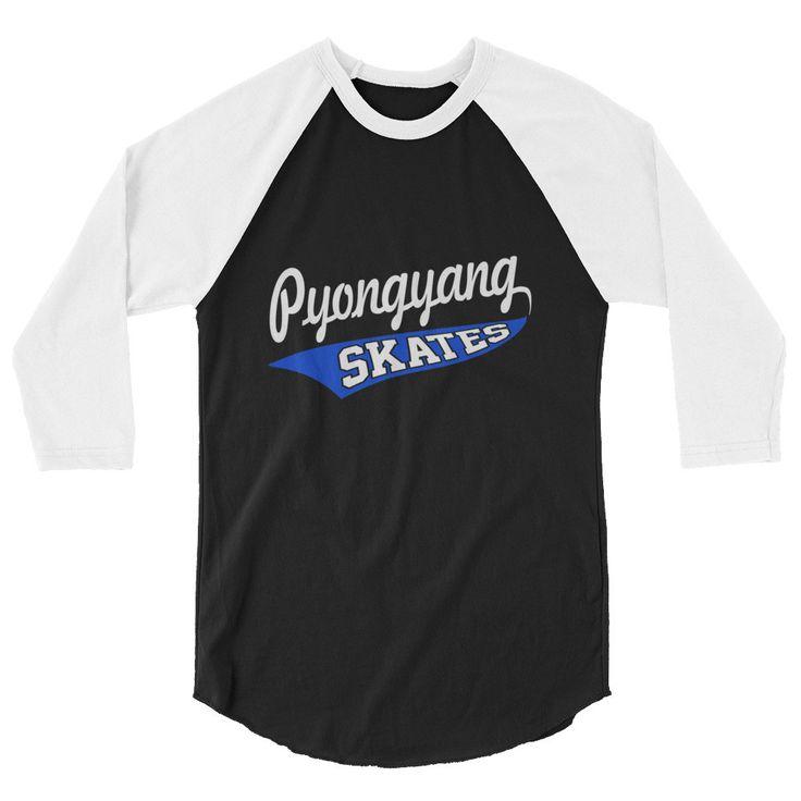 Pyongyang Skates 3/4 Raglan Sleeve T-shirt XS-2XL Poly/Cotton