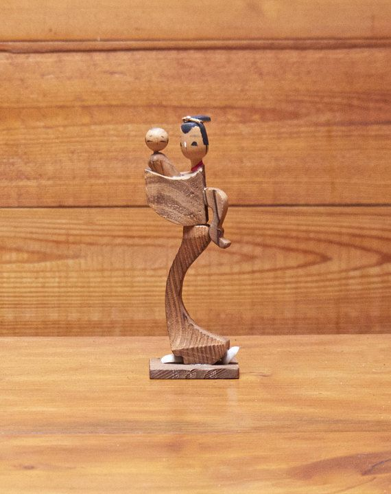 Vintage Japanese Wooden Geisha with baby /Mother and Child