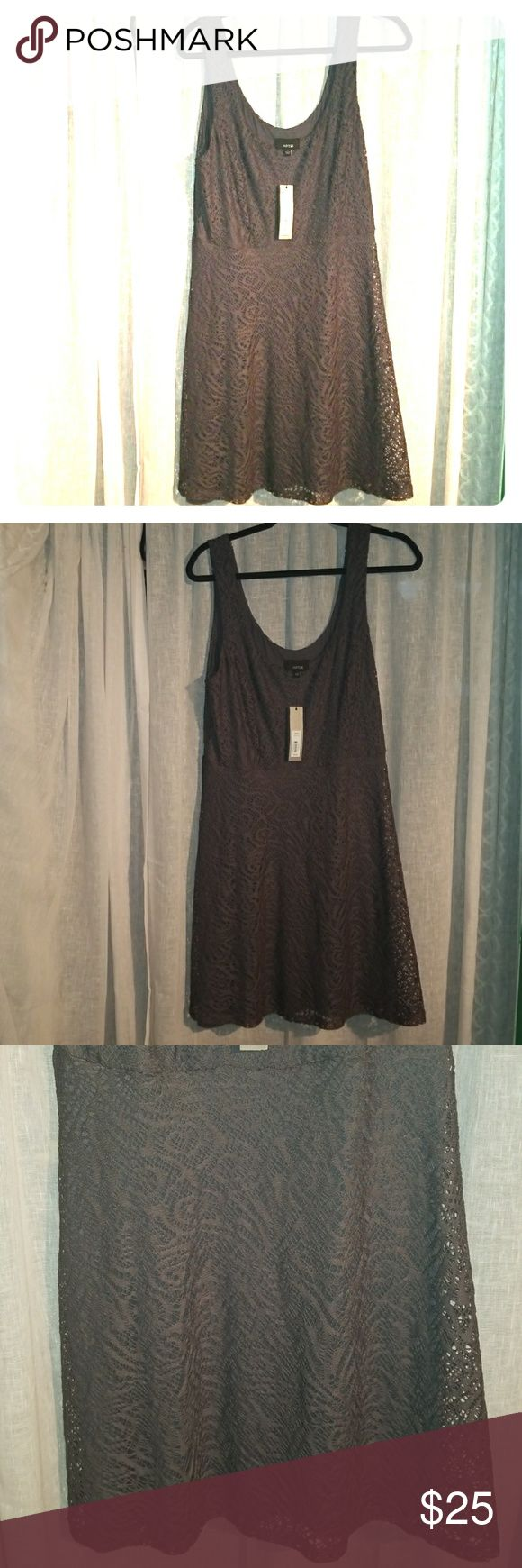 Apt. 9 lace dress NWT New with tags ! Dark gray lace dress   Size Large   Has lining underneath : 97% rayon  3% spandex.  Body: 96% polyester  4% spandex   Fitted tank top like topo.  Bottom flavors open  At 5'8 this dress hits about 2 inches above the knee Apt. 9 Dresses