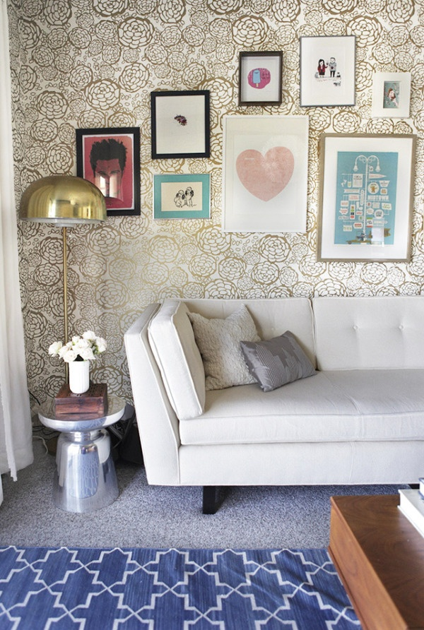 Oh Joy! for Hygge & West - Petal Pusher Wallpaper - White & Gold. this would look amazing behind my TV console in the living room