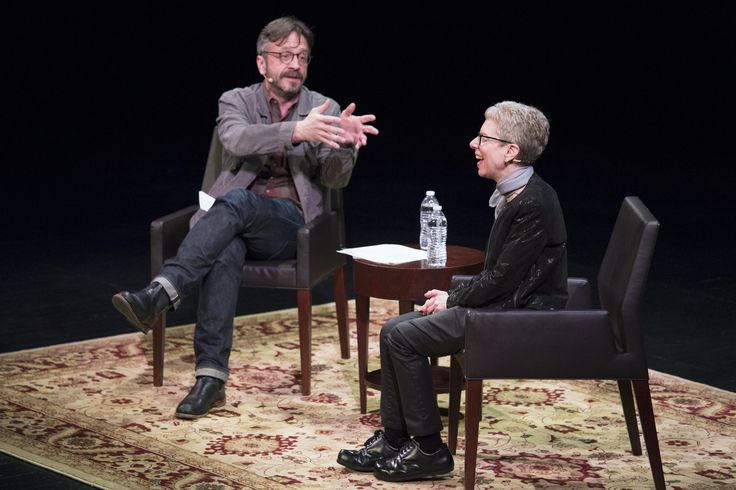 """Terry Gross and Marc Maron took the stage at WNYC's RadioLoveFest on May 6. During their conversation, Gross says, Maron """"occasionally looked a little nervous or frustrated when he thought I was unforthcoming — or worse yet, being dull --€"""" but mostly, he looked emotionally present, curious and attentive."""""""