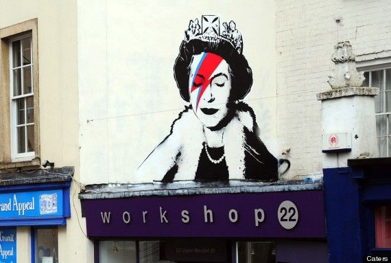 Suspected New Banksy Depicts Queen As David Bowie