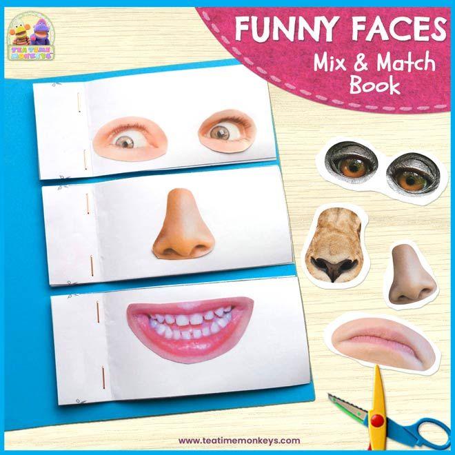 Funny Faces DIY Mix & Match book – Free Printable – Tea Time Monkeys – 3rd grade