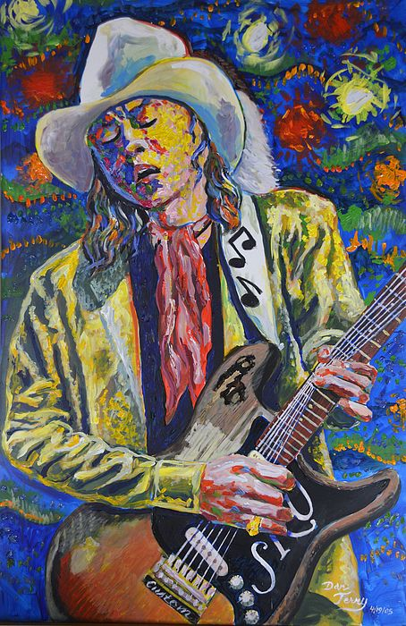 """Stevie Ray Vaughn homage completed on the day he was inducted in the Rock and Roll Hall of Fame. Shows Stevie playing his """"number one"""" favorite Fender Stratocaster. The original (as well as Giclee prints up to full size of 31 x 45"""") are available for sale. The original will go fast at $3200 upon first exhibition if not before. Acrylic on PVC Sheet Panel."""