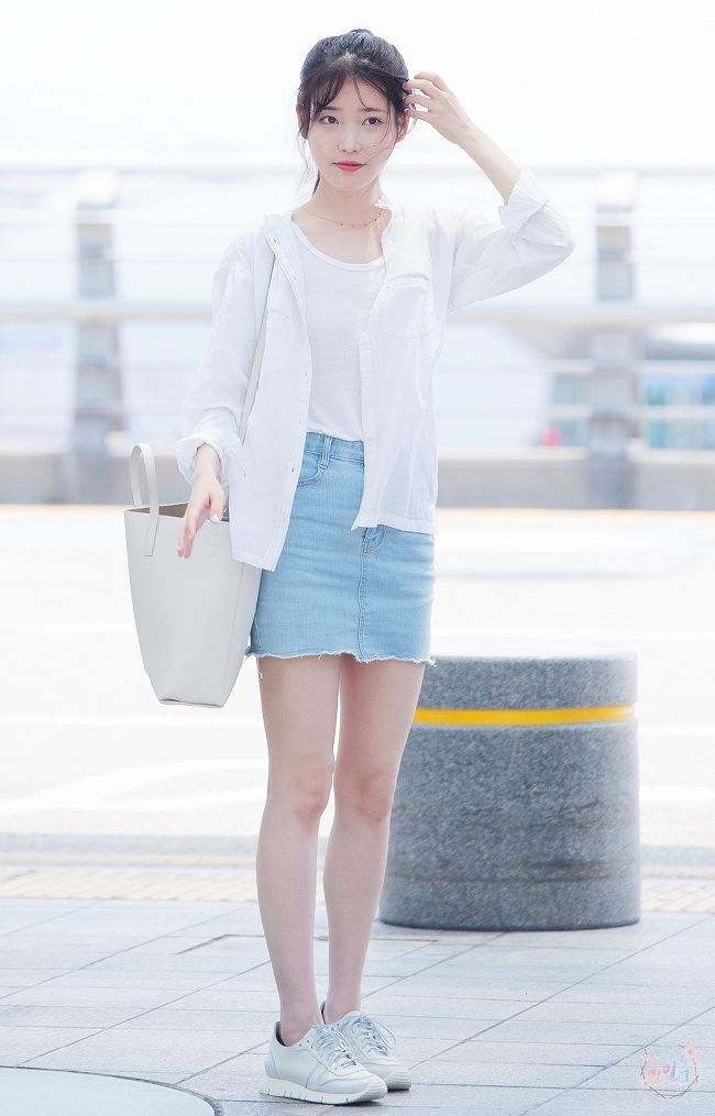 IU's basic white shirt open over a white t-shirt and pale denim skirt is perfect inspiration for a day out this spring!