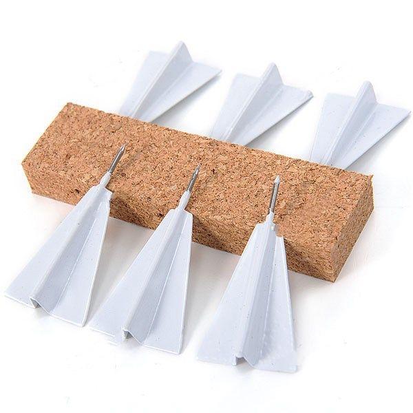 6 x mini creatieven tereoscopic papier vliegtuigen grappig ontwerp push pin kantoor thuis leveren hhi-293005