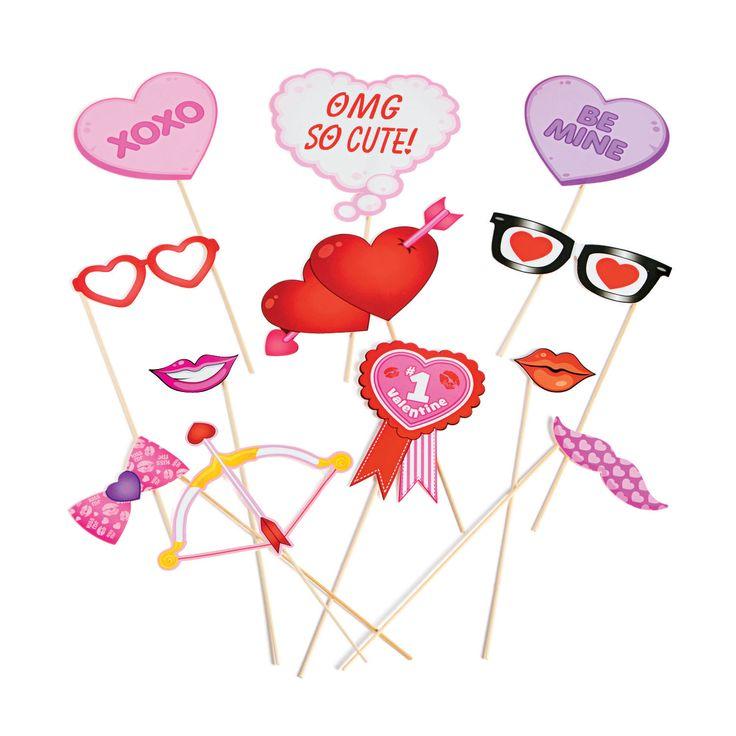 Paper Valentine Photo Prop Sticks 12ct