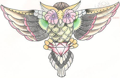 Owl With Diamond Heart Tattoo Design On Arm photo - 2