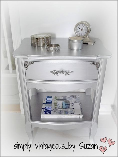 simply vintageous...by Suzan: Metallic end table makeovers!--Modern Masters (ME 150 Silver) paint