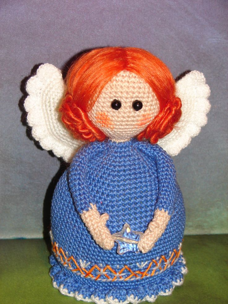 Angel Tutelar blue Angel Doll Handmade Angel Guardian Crochet doll Birth Gift for her gift for mom Christmas doll personified angel amulet by KrugerShop on Etsy