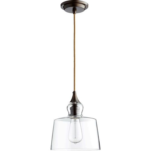 filament oiled bronze 85inch onelight pendant with clear glass