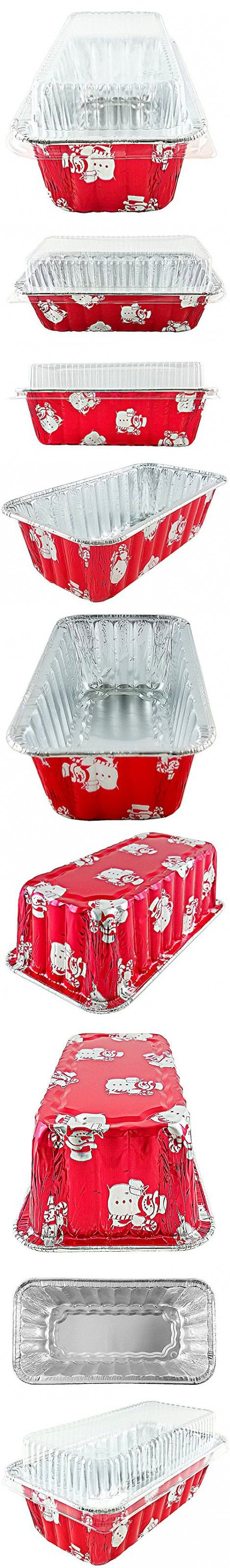 Handi-Foil of America 2 lb.Red Holiday X-Mas Snowman Aluminum Foil Loaf/Bread Pan w/Clear Dome Lid (Pack of 50)