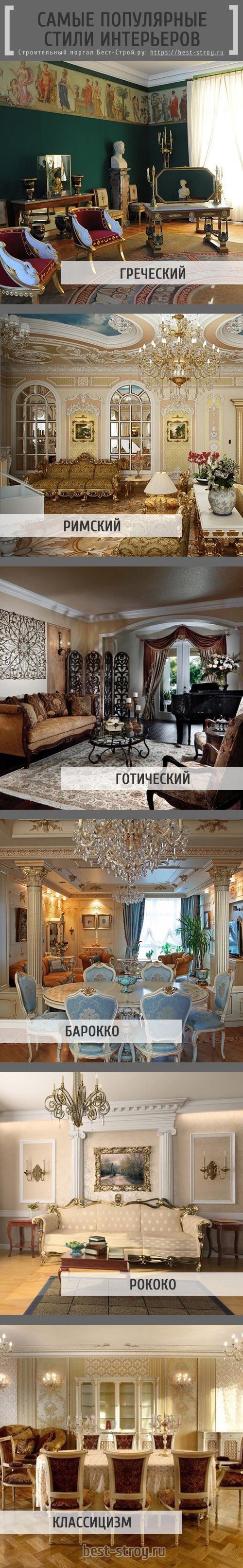 Самые популярные стили интерьеров: греческий, римский, готический, барокко, рококо и классицизм.