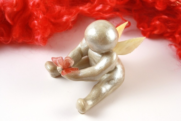 Go Tell My Mommy I'm Okay - angel baby clay sculpture with colored butterfly - made to order. $24.00, via Etsy.