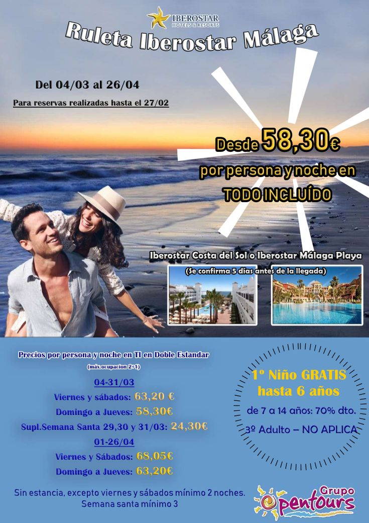 | GRUPO OPENTOURS | . IBEROSTAR, Ruleta Málaga ---- Iberostar Málaga Playa e Iberostar Costa del Sol ---- Todo Incluido desde 58,30 € por persona y día. ---- Para reservas realizadas hasta el 27 de Febrero, con fecha de entrada 04/03 al 26/04 ---- Los mejores precios y servicios, disponibles con Grupo Opentours ---- Información y Reservas en tu - Agencia de Viajes Minorista - ---- #iberostarmalagaplaya #iberostarcostadelsol #hotelsecret #secrethotel #costadelsol #verano2018 #ruleta…