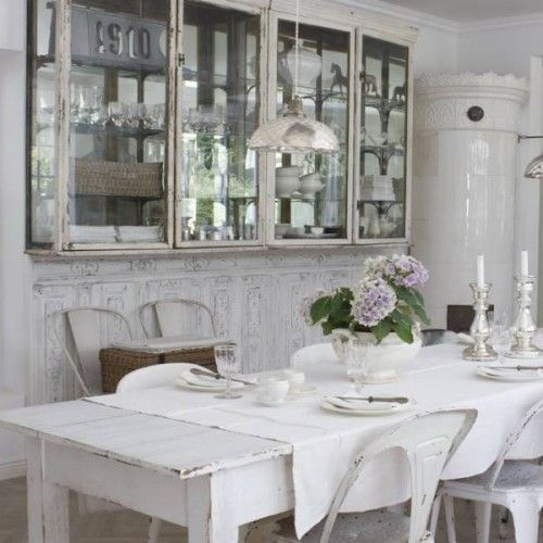 55 Cool Shabby Chic Decorating Ideas | Shelterness - those glass cabinets are so pretty