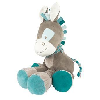 Grande peluche Gaston le cheval bleu et gris en velours, Gaston & Cyril