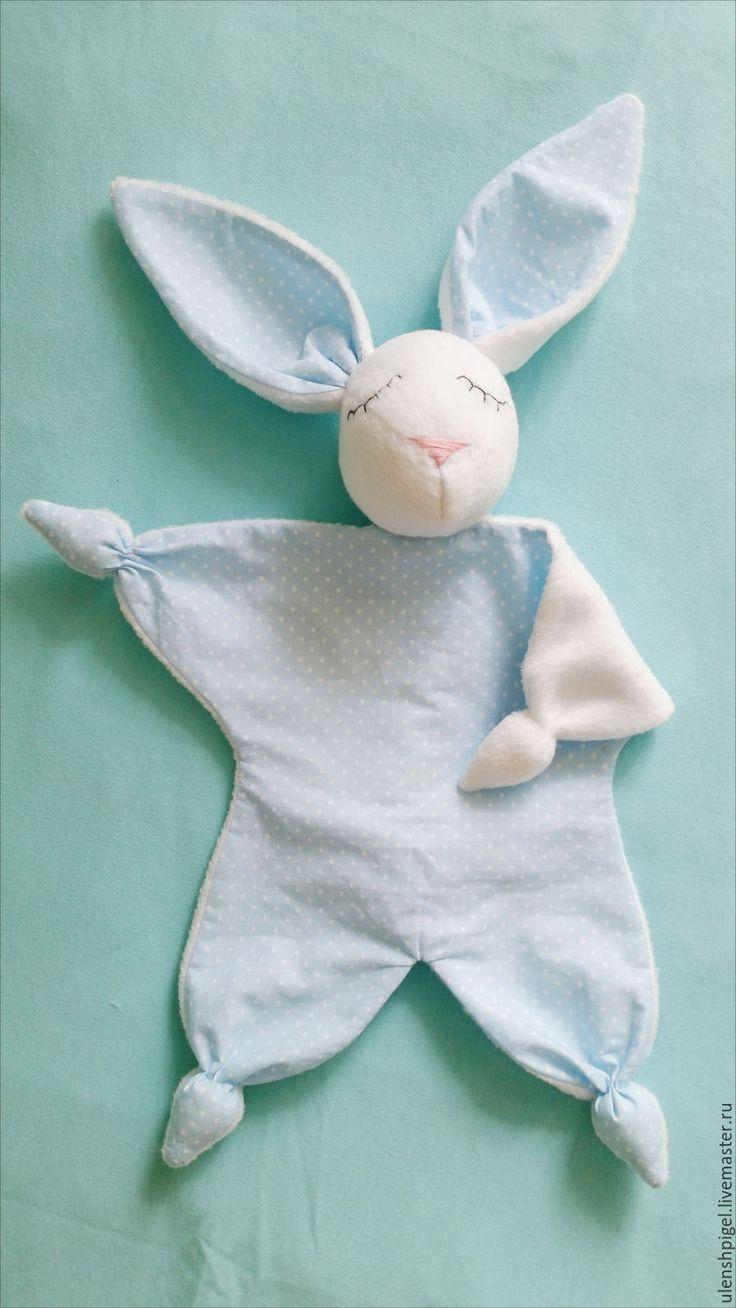 Купить Игрушка для младенцев Зайка - Сплюшка - голубой, розовый, печворк, комфортер, куски, зайка, сплюшка