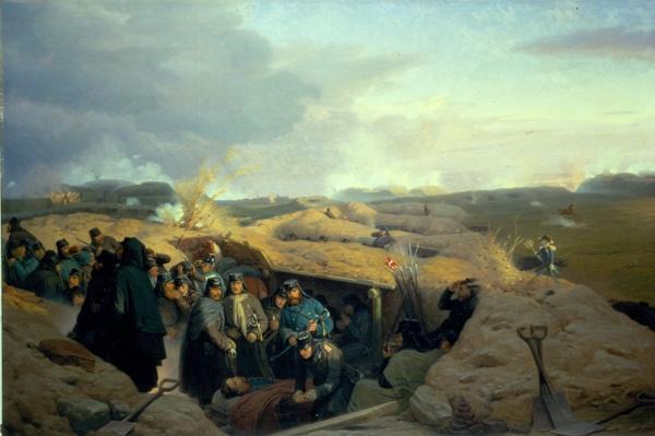 """""""Stormen på Dybbøl"""", painted by Jørgen Valentin Sonne, 1871. The Museum of National History, room 65."""