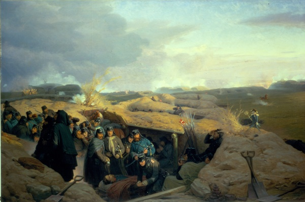 """Stormen på Dybbøl"", painted by Jørgen Valentin Sonne, 1871. The Museum of National History, room 65."