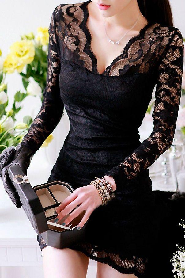 Seductive Long Sleeve Hollow Lace Curve Hugging Dress Black: tidestore.com