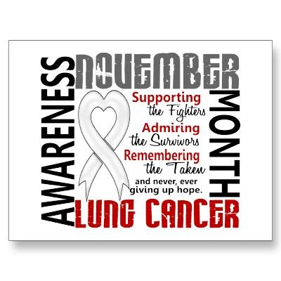 November is Lung Cancer Awareness Month. Support the efforts to find a cure.