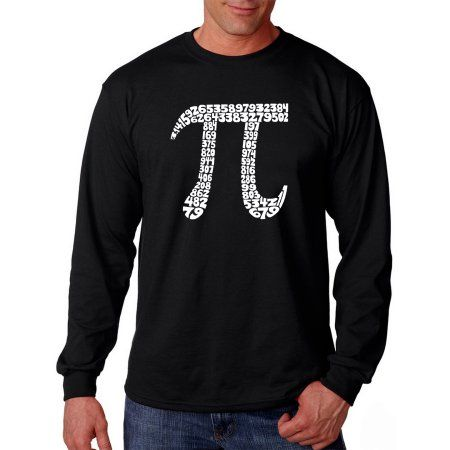 Los Angeles Pop Art Big Men's Long Sleeve T-shirt - The First 100 Digits of PI, Size: 2XL, Black