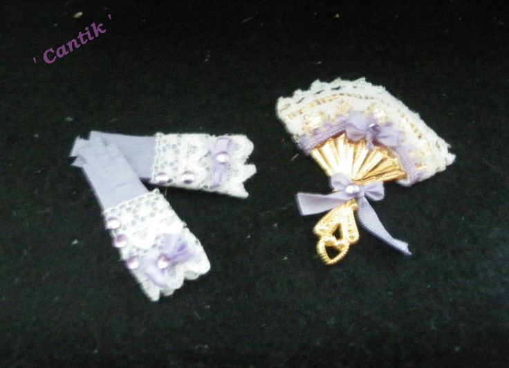 1:12 Scale Hand-Made Miniature  LILAC GLOVE & FAN MATCHING SET