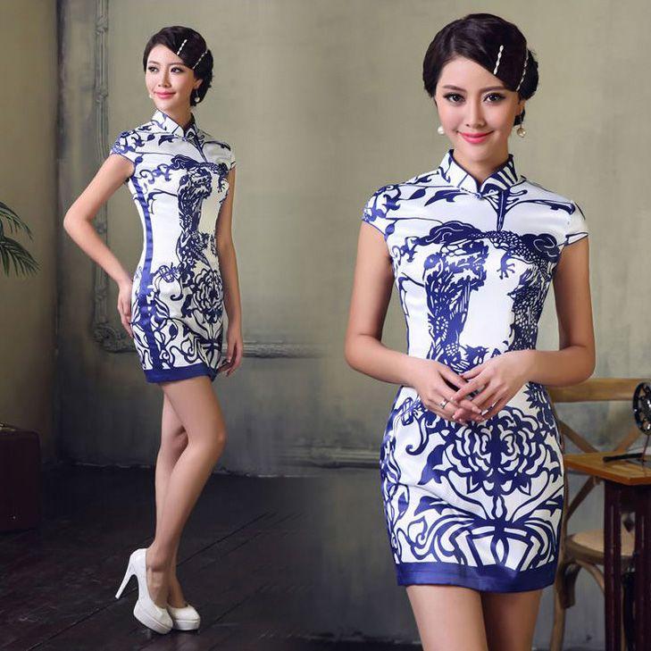 Blue pottery print mini cheongsam modern qipao Asian inspired Chinese sheath dress | Modern Qipao. ♦ℬїт¢ℌαℓї¢їøυ﹩♦
