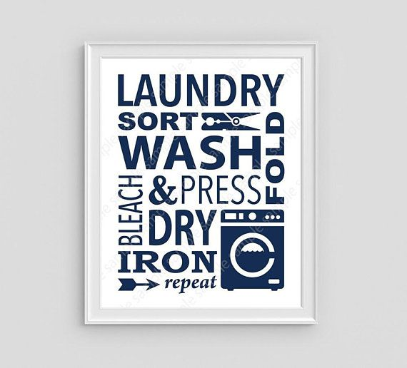 Printable Laundry Room Sign Navy Blue Laundry Poster Wash Dry