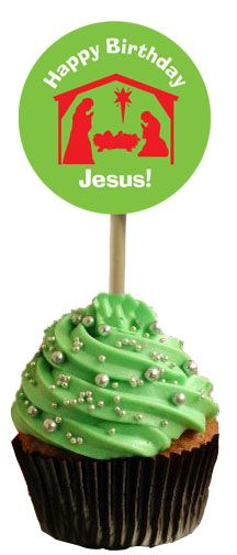 I volunteered to make cupcakes for my son's preschool Christmas party this week.  I found this design and plan on using it as the topper.  Super easy!
