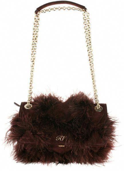 7ffa7d0119 ROGER VIVIER PARIS Burgundy Suede Bag Embellished with Goose Feathers   RogerVivier