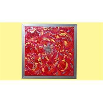 """Quadri Moderni """"Camelia grande"""" Acrilico spatolato su tela dai colori caldi e tocchi d'argento-acciaio, con applicazione di pietre specchio, glitter e perline. Cornice in legno color acciaio-argento. Versione grande del tema """"Camelia"""", con toni sempre caldi, ma con accenni di acciaio-argento per un contrasto perfetto, ideale in un arredamento moderno che mette in risalto le tonalità del rosso."""