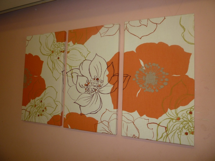 1 fabric perfectly matched up on 3 seperate canvases- lavender room?