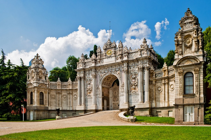 The gates at Dolmabahce Palace. The palace is one of the most imposing and beautiful pieces of architecture along the Bosphorus. It was built between 1843 and 1855 by Garabet Amira Balyan and Nigogayos Balyan in a synthesis of European architectural styles.
