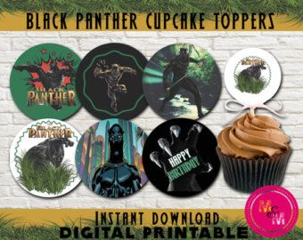Black Panther Birthday Cupcake Toppers Printable, Civil War Cupcake Toppers, Marvel Black Panther Party, Civil War Party, Superhero Toppers