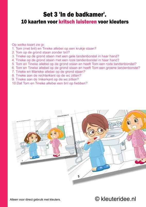 Kritisch luisteren set 3 in de badkamer 10 kaarten plus handleiding , kleuteridee.nl , critical listening preschool, free printable.