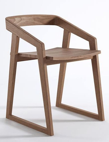 Sled base #teak #chair with armrests EXPERIENCE by Karpenter #wood