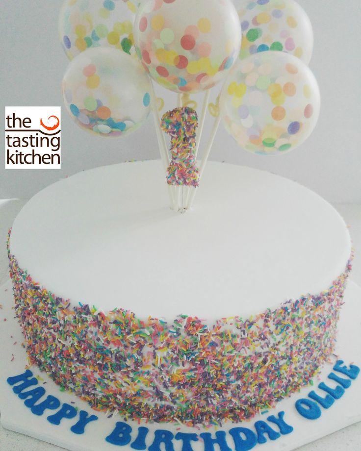 Floating 1, 1st birthday cake, Balloons, Sprinkles