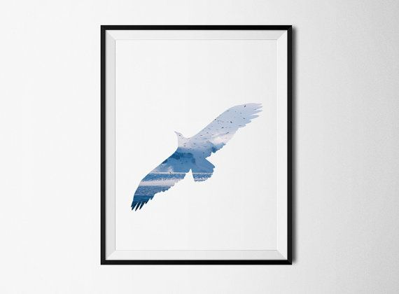 Bird print Bird printable Eagle Print Bird poster by ColourMoon