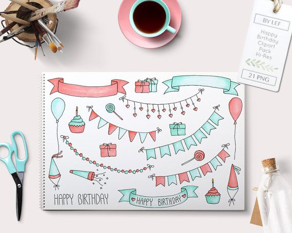 By Lef graphics on Etsy Doodle Birthday Clipart Graphics. By Lef 'Happy Birthday' party fairy lights cupcakes hearts mint and pink coral partyhats lollipops by ByLef