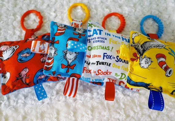 Baby Toys, 4 Cat in the Hat crinkle toys , set of 4,  5 inch squares, super soft and lots of crinkle noise.