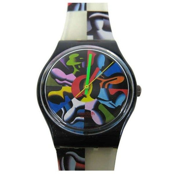 Kostabi Swatch Watch Twelve Apostles, Signed & Illustrated By Kostabi... (12.839.245 IDR) ❤ liked on Polyvore featuring jewelry, watches, black, wrist watches, pre owned watches, 80s jewelry, pre owned jewelry, 1980s jewelry and preowned watches