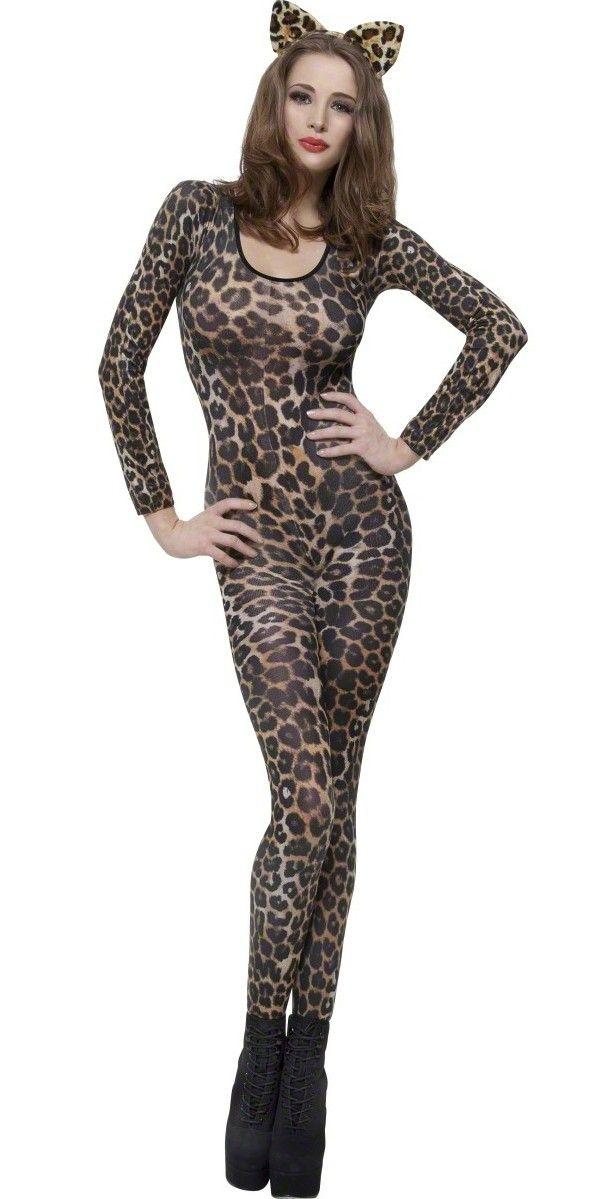 Disfraz de leopardo marrón: Este disfraz de leopardo marrón para mujer está copuesto de una tela fina y elástica (orejas y zapatos no incluidos). Tiene aberturas en los pies para facilitar su uso. Este...