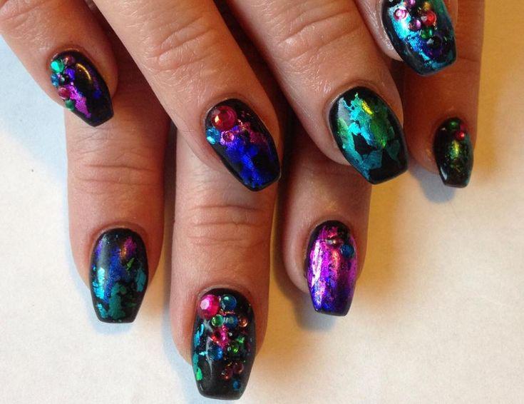 black nail art-nails-nailart-nail art-nail art designs-nail designs-oje desenleri (12) 45 nail desings