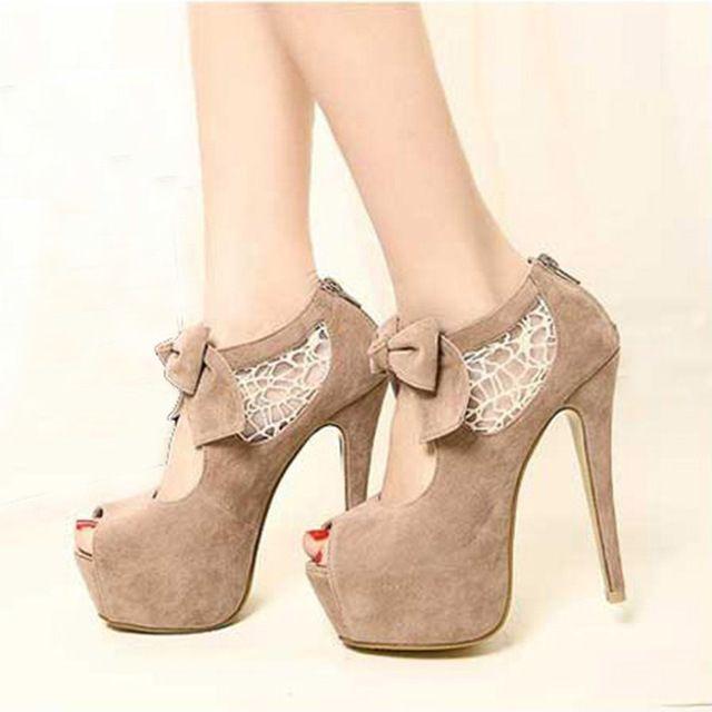 2016 sapatos de salto alto Peep toe sapatos mulheres rendas costura arco de salto alto à prova d' água sapatos de noiva sapatos de casamento bege Scarpe Donna
